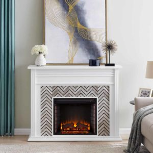 Hebbington Tiled Marble Electric Fireplace