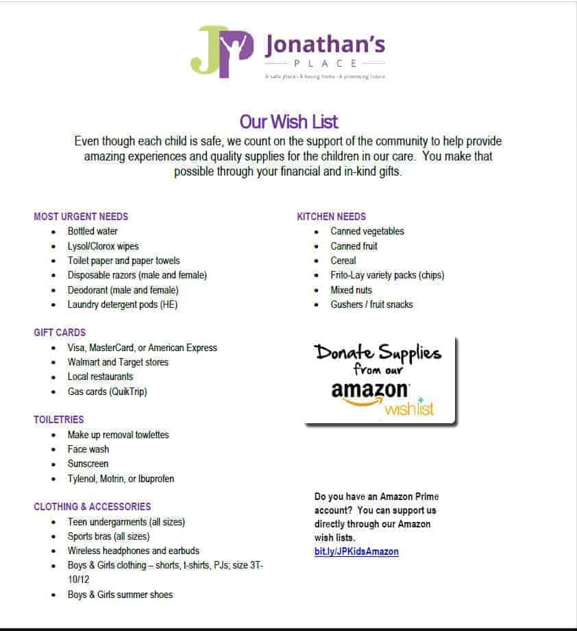 Jonathan's place wish list of supplies