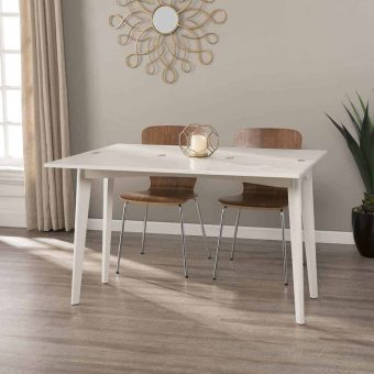 Expandable white dining table with chairs