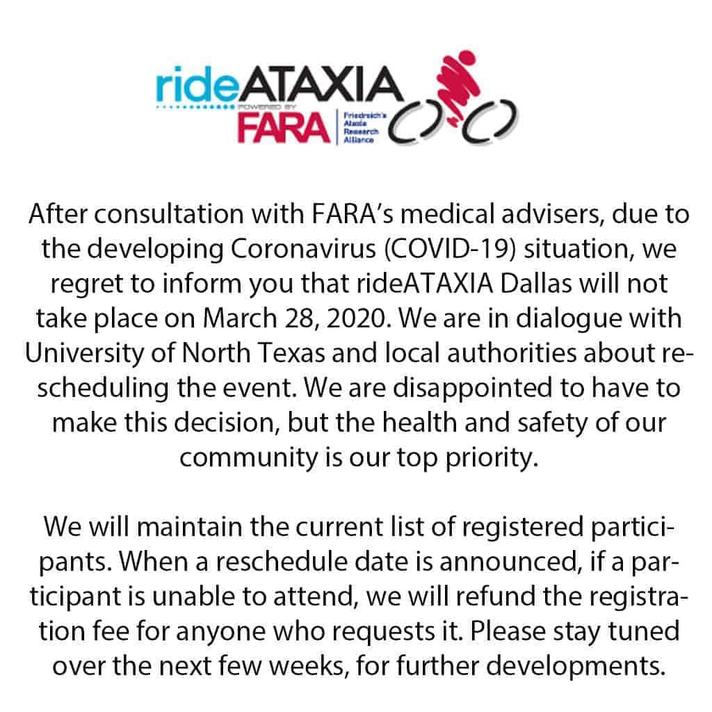 Ride Ataxia COVID-19 Race Reschedule